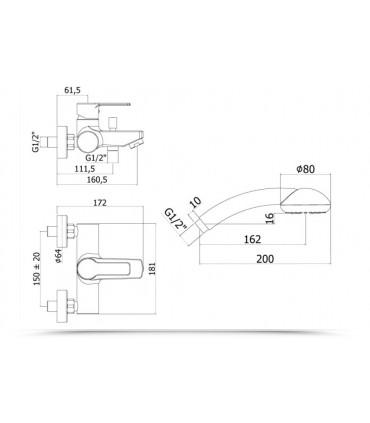 Paffoni Red 023 miscelatore vasca doccia duplex